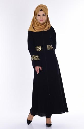 Jaquard Abaya mit Reißverschluss 7717-01 Schwarz 7717-01