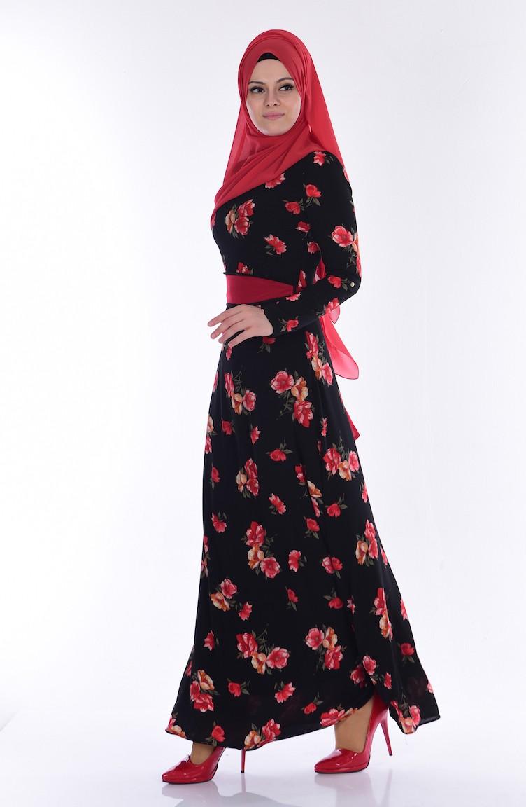 d29dd10ca219c Çiçek Desenli Elbise 7765-01 Siyah