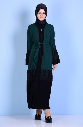 Laced Detailed Abaya 7724-04 Jade Green 7724-04