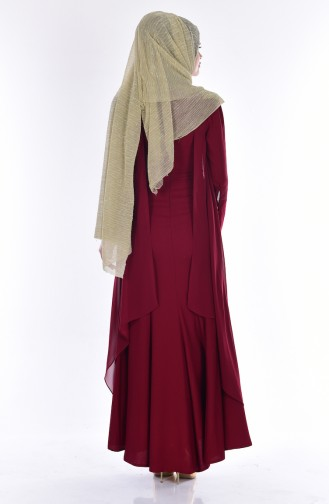 Robe de Soirée a Dentelle 7004-03 Bordeaux 7004-03