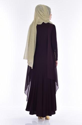 فستان شيفون بتفاصيل من الدانتيل 7004-01