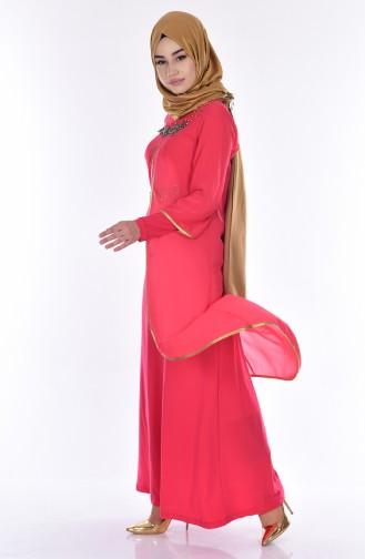 Vermillion İslamitische Avondjurk 7003-02
