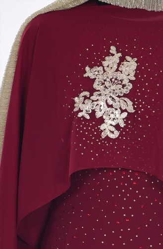 Evening Dress with Cape 7007-02 Claret Red 7007-02