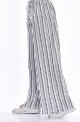 Çizgili Bol Paça Pantolon 6536-03 Gri Sefamerve