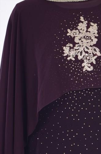 Abendkleid mit Umhang 7007-01 Dunkel Lila 7007-01