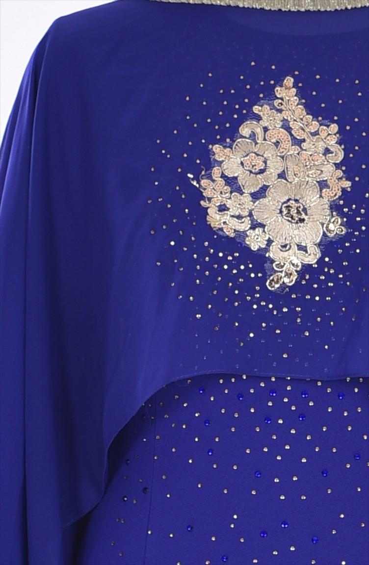 28f674d194b47 فستان لون أزرق نيلي 7007-03