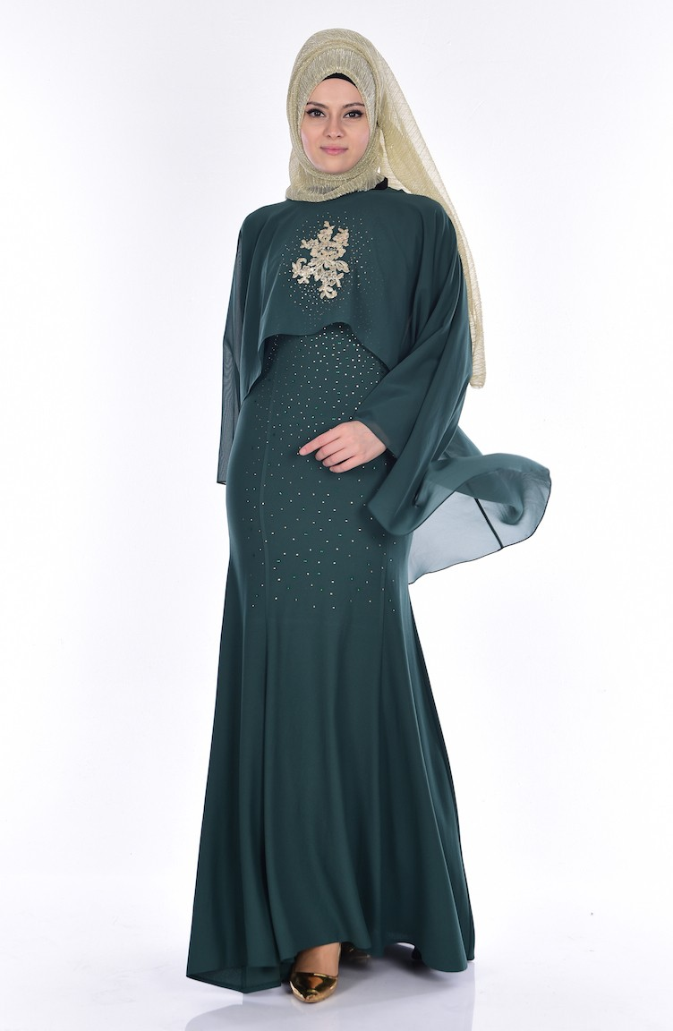 5079bbaf040c3 فستان لون أخضر 7007-04