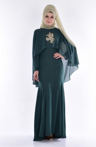 Robe de Soirée Pélerine 7007-04 Vert emeraude 7007-04
