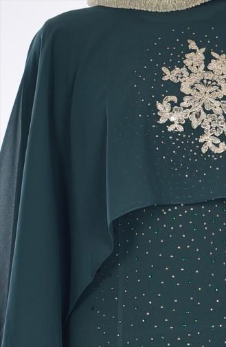 Abendkleid mit Umhang 7007-04 Smaragdgrün 7007-04