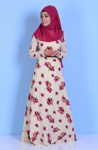 Robe a Motifs Fleurs 7765-02 Creme 7765-02