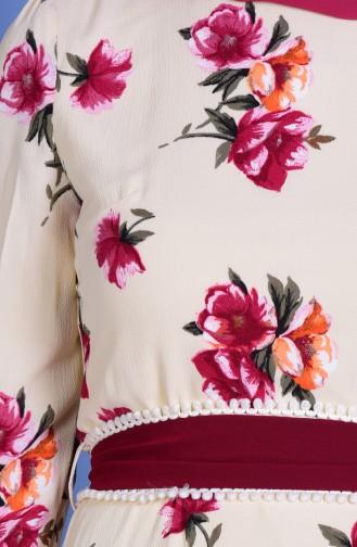 Çiçek Desenli Elbise 7765-02 Krem