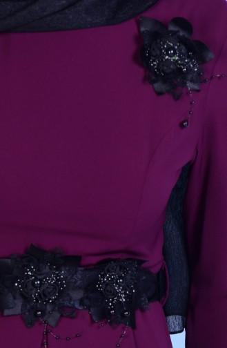 Robe Détail Fleurs 3164-07 Plum 3164-07