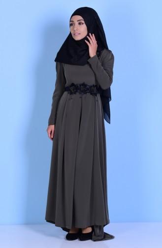 Khaki İslamitische Jurk 3164-06
