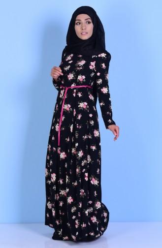 Printed Belt Dress 7781-02 Black 7781-02