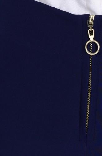 Pantalon Large a Fermeture 3095-01 Bleu Marine 3095-01