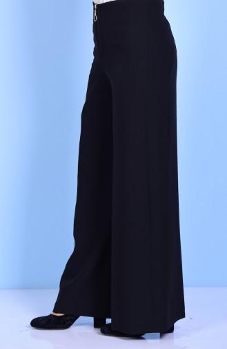 Wide Leg Trouser with Zipper 3095-02 Black 3095-02