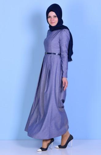 Kleid mit Gürtel 2781-19 Hell Dunkelblau 2781-19
