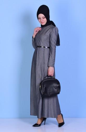 Kemerli Elbise 2781-21 Füme