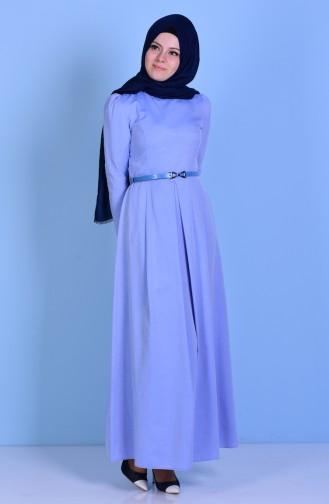 Kemerli Elbise 2781-20 Mavi 2781-20
