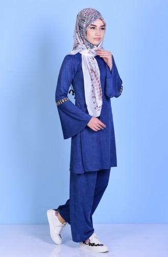 Tunik Pantolon İkili Takım 7012-02 İndigo Sefamerve