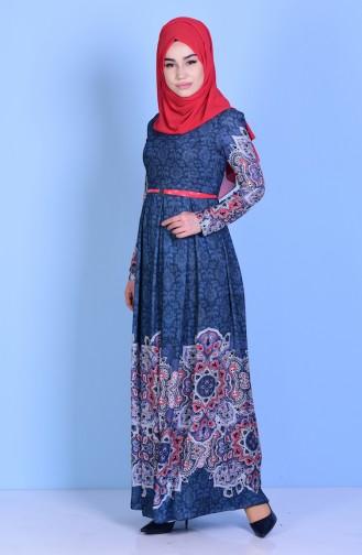 فستان بتصميم مُطبع 7804-03لون كحلي 7804-03