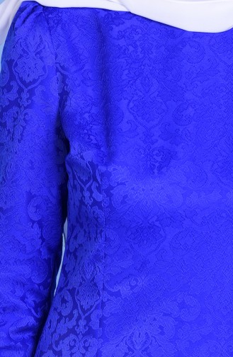 Jakarlı Elbise 2772-21 Saks