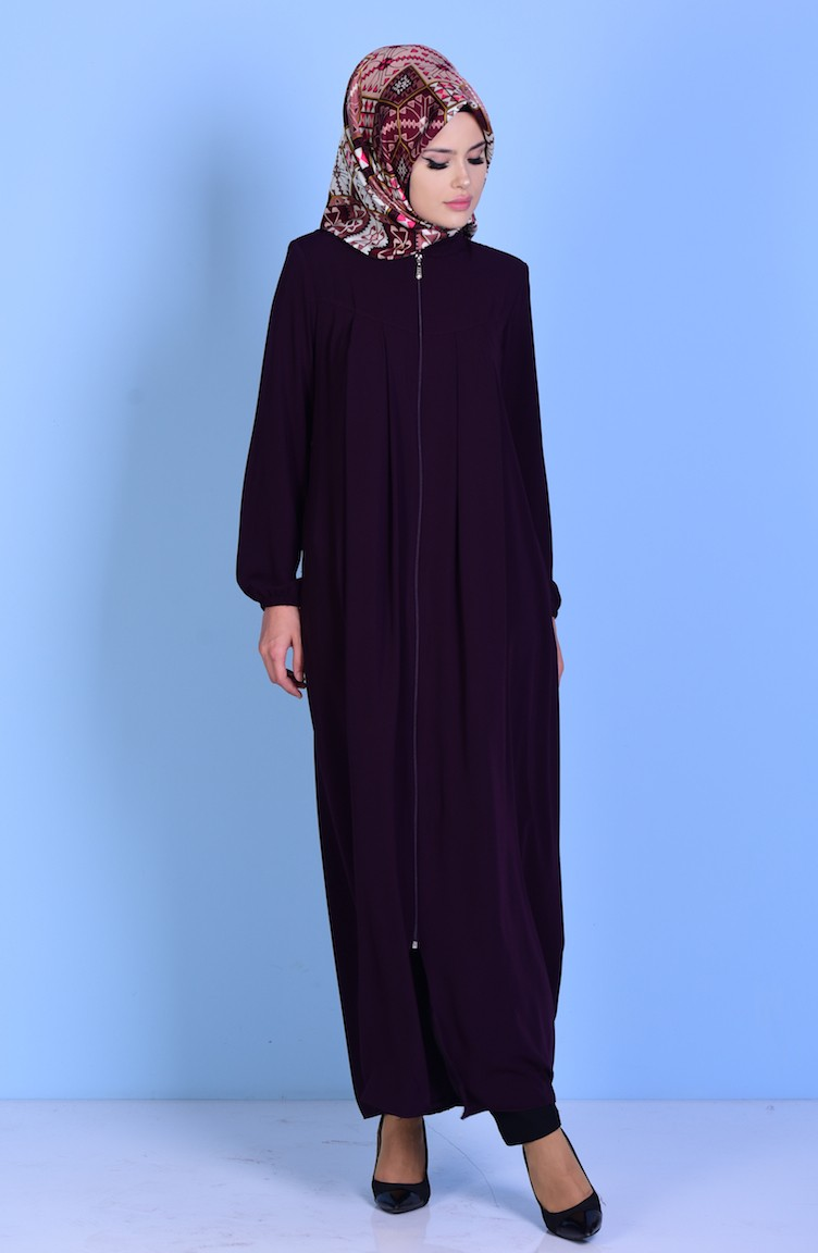 440aceaef7a Crew Neck Pleated Abaya 99099-04 Maroon 99099-04
