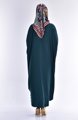 Abaya Fermeture a Glissiere 17471-07 Vert emeraude 17471-07