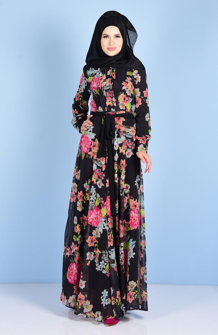 587a1f36c3ec5 Çiçek Desenli Şifon Elbise 0519-02 Siyah 0519-02