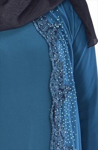 Strassstein Bedrucktes Kleid 7540-02 Smaragdgrün 7740-02