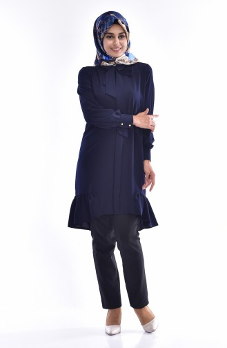Asimetric Ruched Tunic 4010-01 Navy Blue 4010-01