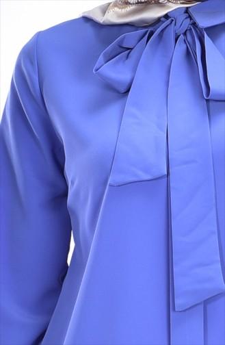Tunique Asymétrique Plissée  4010-04 Bleu 4010-04