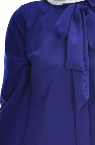 Tunique Asymétrique Plissée 4010-05 Bleu Roi 4010-05