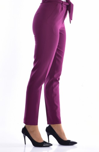 Straight Leg Trousers with Belt 5050-07 Maroon 5050-07