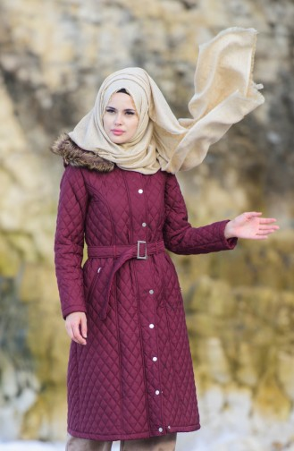 Hijab Mantel mit Gürtel 5043-06 Weinrot 5043-06