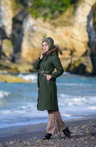 Hijab Mantel mit Gürtel  5043-02 Khaki Grün 5043-02