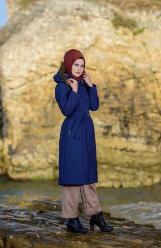 Navy Blue Long Coat 5043-03