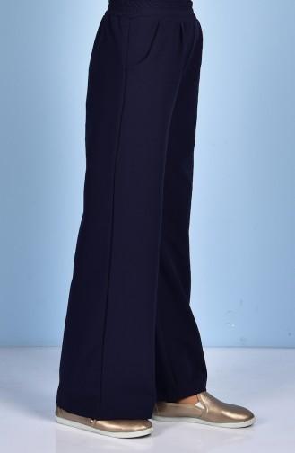 Pantalon Large avec Poches 5095-06 Bleu Marine 5095-06