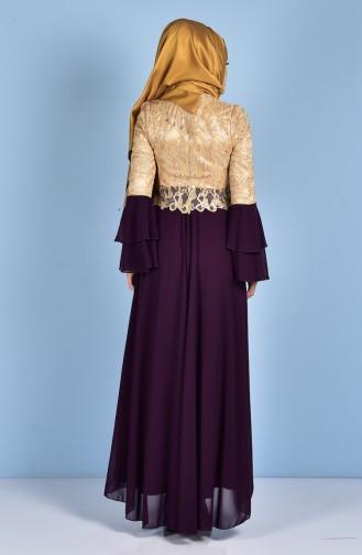 Robe de Soirée Mousseline 7751-04 Pourpre 7751-04