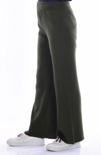 ايلميك بنطال تريكو بتصميم قصة واسعة من الأسفل 3988-06 لون أخضر كاكي 3988-06