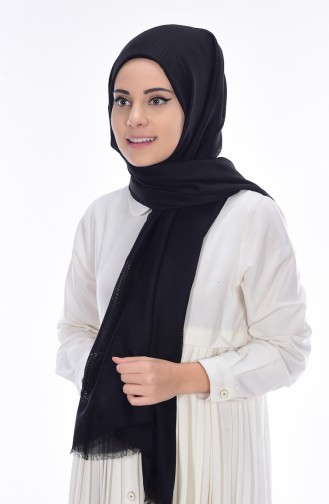 Net Detailed Shawl 19033-01 Black 01