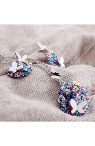 Angemiel Kristal Renkli Gümüş Kelebek Bayan Takı Seti ALM002748