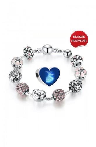 Mevlana Tasarım Gümüş Charm Angemiel Bileklik ALM002762 Renkli