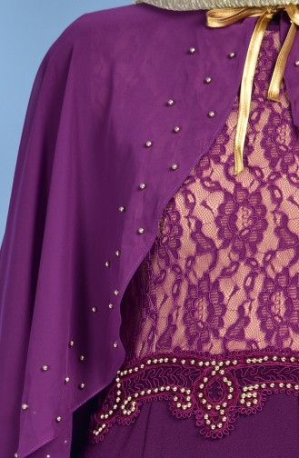 Spitzen Abendkleid mit Umhang 7006-01 Lila 7006-01