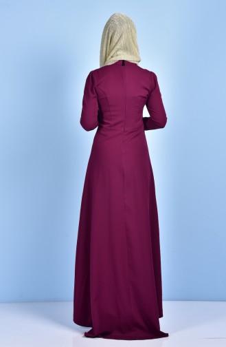 Robe Asymétrique Avec Collier 7002-02 Plum 7002-02