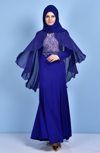 Spitzen Abendkleid mit Umhang 7006-04 Saks 7006-04