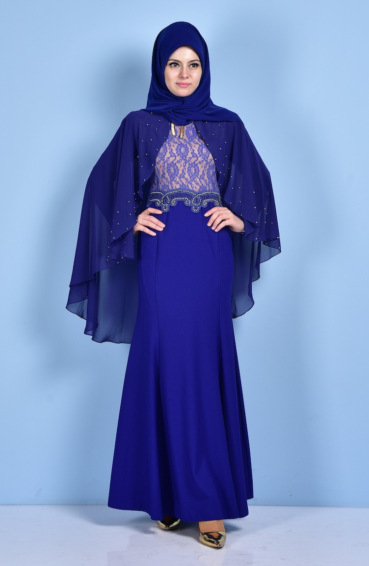 c667d65020aab فستان لون أزرق نيلي 7006-04