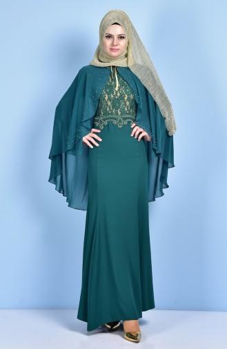 Spitzen Abendkleid mit Umhang 7006-03 Smaragdgrün 7006-03