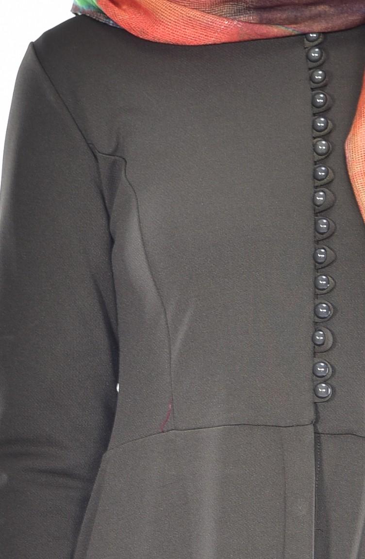 1867987382c Robe a Boutons et Dentelle 4403-01 Vert Khaki 4403-01