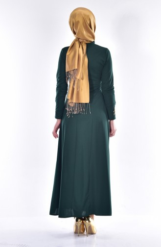Rundhalsausschnitt Kleid mit Stickerei 4401-05 Smaragdgrün 4401-05